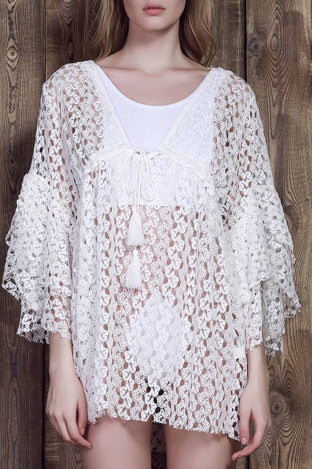 Plunging Neck 3/4 Sleeve White Lace Cover-Up