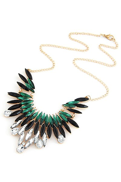 Faux Gem Feather Shape Pendant Necklace For Women