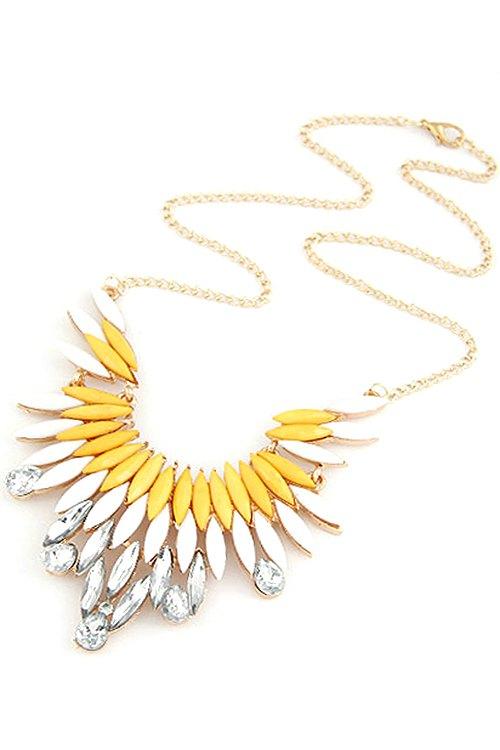 Faux Gem Feather Shape Pendant Necklace