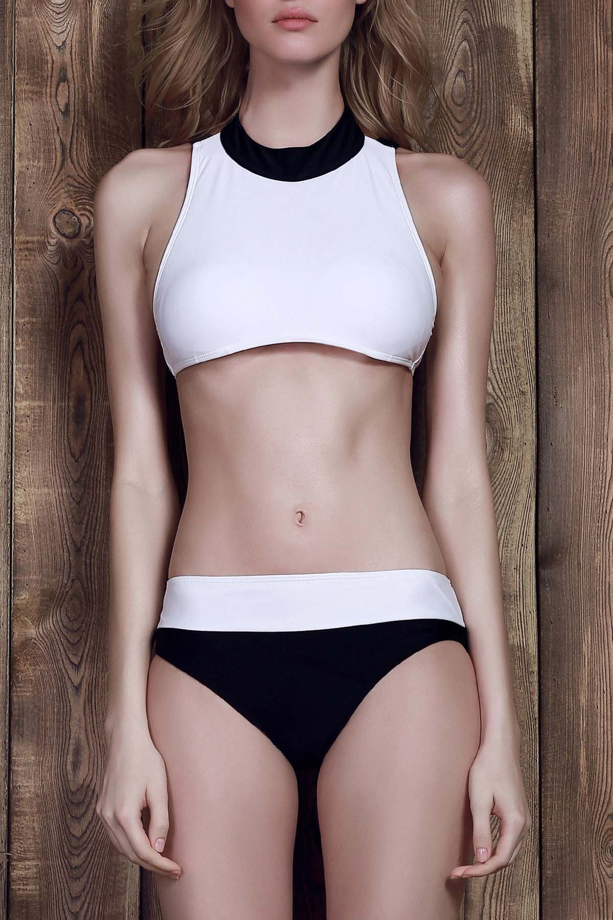 Jewel Neck Color Block Two-Piece Swimsuit