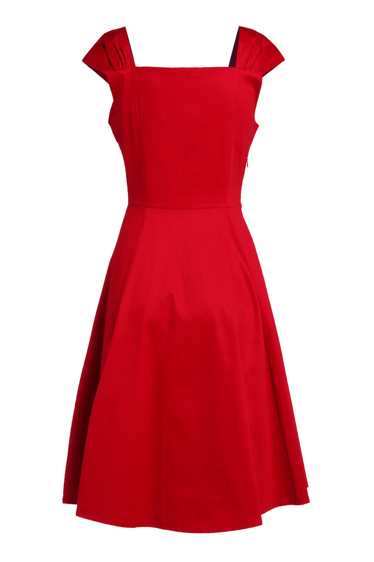 Reversible Solid Color Ball Gown Dress - RED M