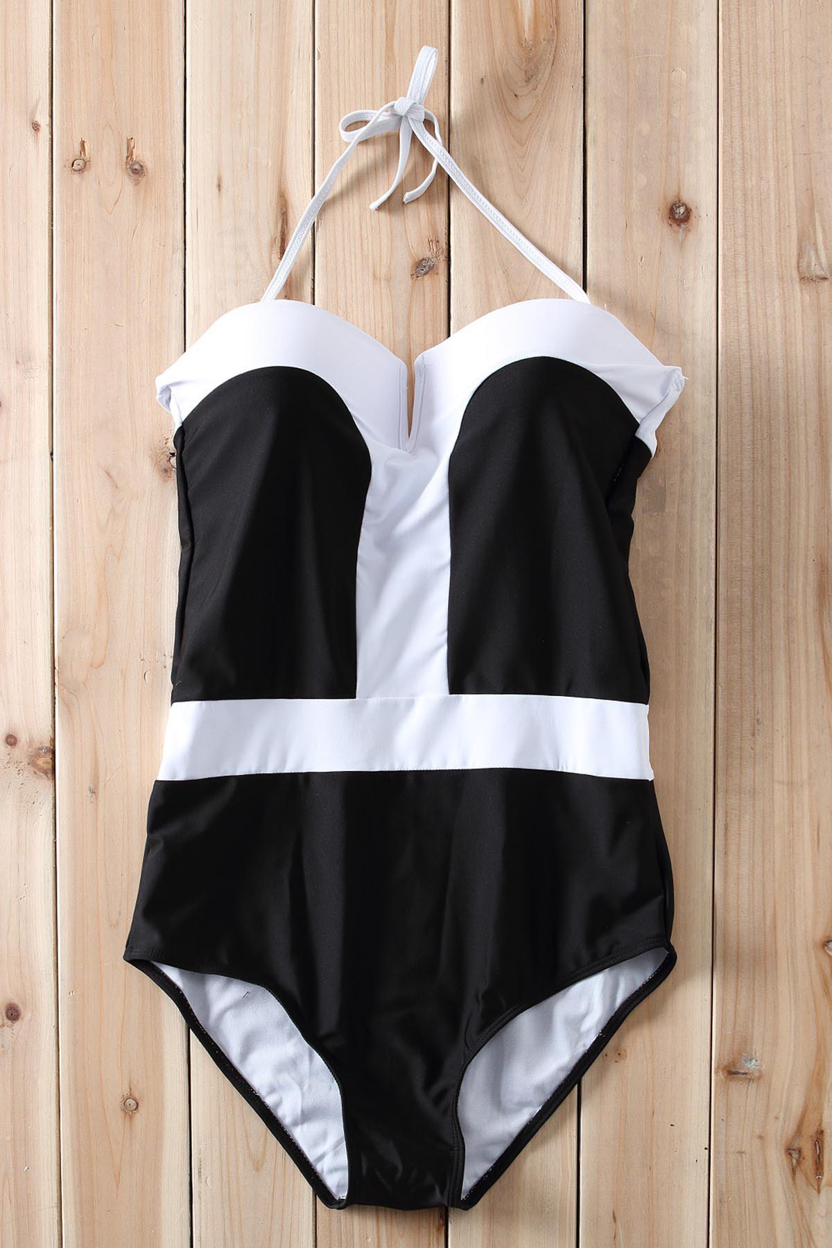 Color Block Push Up One-Piece Swimwear - WHITE/BLACK L