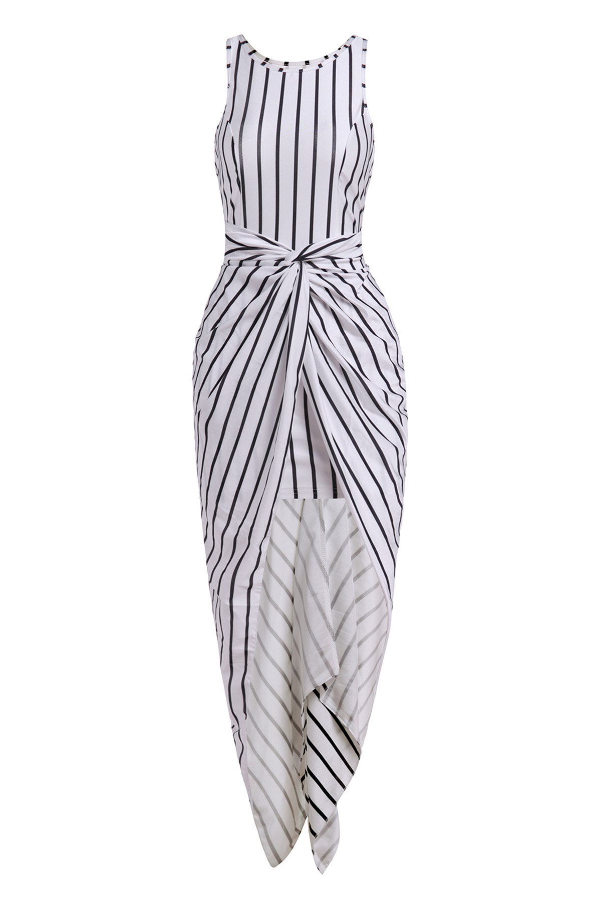 Jewel Neck Sleeveless Vertical Stripes Ruffled Asymmtrical Racerback Maxi Dress