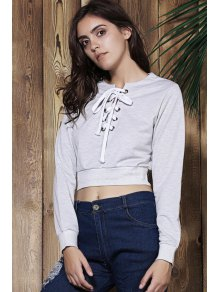 Gray V Neck Long Sleeve Cropped Sweatshirt - GRAY S