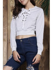 Gray V Neck Long Sleeve Cropped Sweatshirt