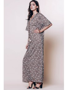 Tiny Floral Plunging Neck 3/4 Sleeve Maxi Dress - COFFEE S