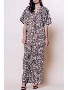 Minuscule Floral Plongeant Neck Manches 3/4 Maxi Dress - Café L