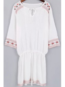 Fitting Embroidery V Neck 3/4 Sleeve Dress and  White Cami Tank Top