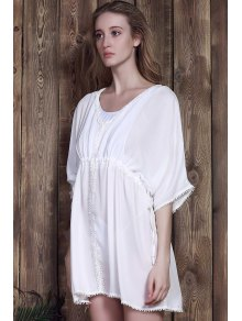 Half Sleeve White Chiffon Cover-Up - WHITE ONE SIZE(FIT SIZE XS TO M)