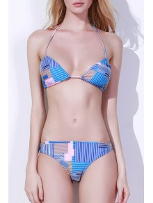 Stripes Halter Print Bikini Set