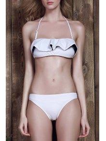 Halter Frilled Two-Tone Bikini Set - White S