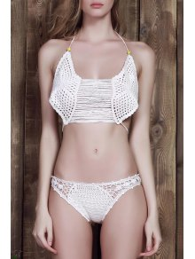 Cami blanco de ganchillo Set Bikini