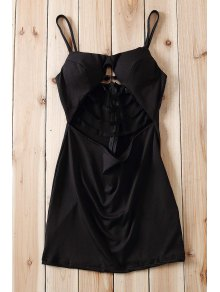 Black Spaghetti Strap Cut Out Bodycon Dress