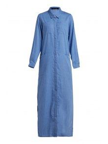 فستان شيرت ماكسي الدنيم طويلة الأكمام - أزرق L