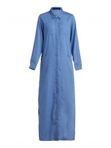 Denim Long Sleeve Maxi Shirt Dress - Blue Xl