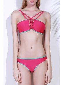 Spaghetti Strap Contrasting Piped Bikini Set