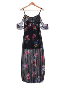 Floral Spaghetti Strap Off The Shoulder Maxi Dress