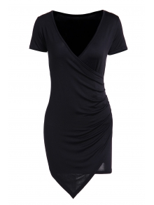 Solid Color Short Sleeve Bodycon Dress