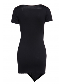 Solid Color Short Sleeve Bodycon Dress - BLACK S