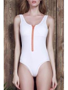 U-Neck White One-Piece Swimwear - White