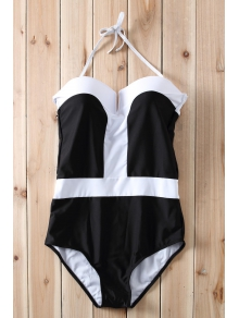 Color Block Push Up One-Piece Swimwear