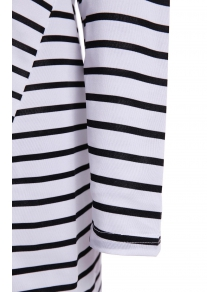 Long Sleeve Striped Loose-Fitting Blouse - WHITE/BLACK M