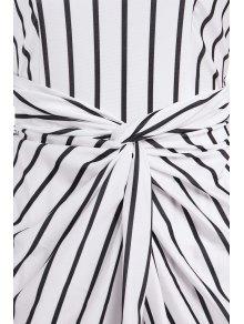Vertical Stripes Asymmtrical Racerback Maxi Dress