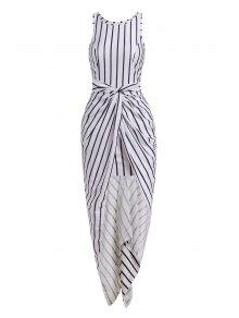 Vertical Stripes Asymmtrical Racerback Maxi Dress - White And Black L