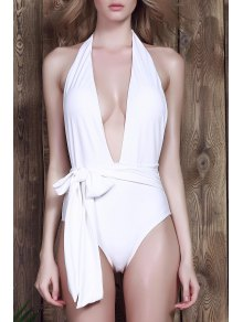 Low Cut One-Piece Swimwear - White