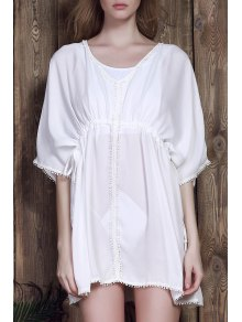 Batwing Drawstring Chiffon Cover-Up - White