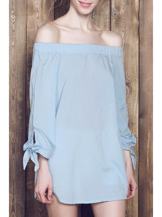 lady Bow Tie Sleeve Bardot Dress - BLUE S