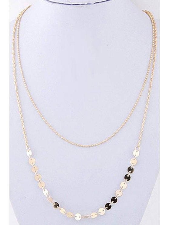 womens Sequins Double-Deck Necklace - GOLDEN