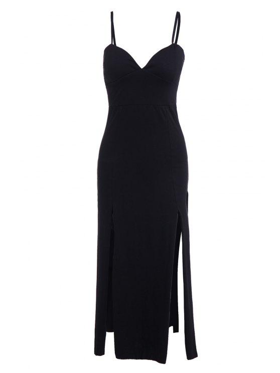 shops Solid Color Spaghetti Strap Slit Maxi Dress - BLACK S