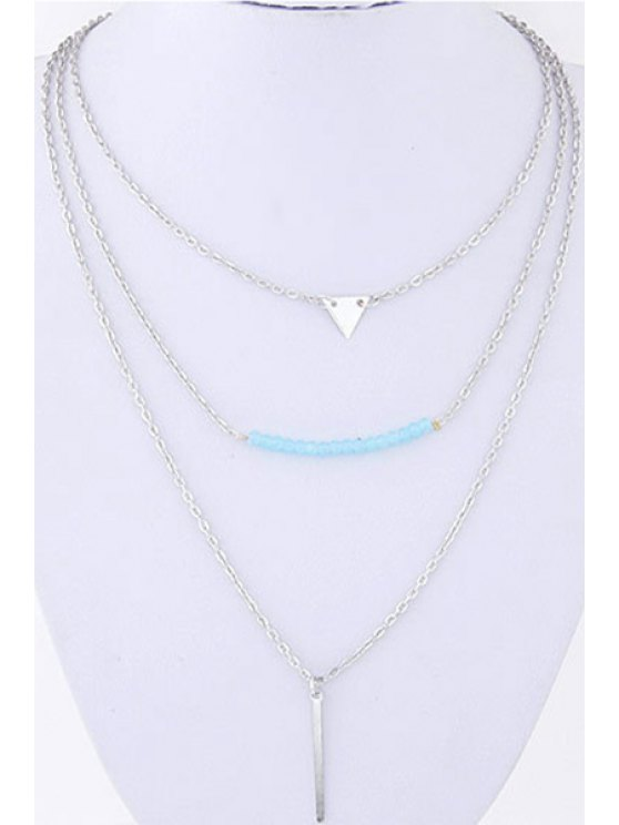 Three Layered Pendant Necklace - SILVER  Mobile