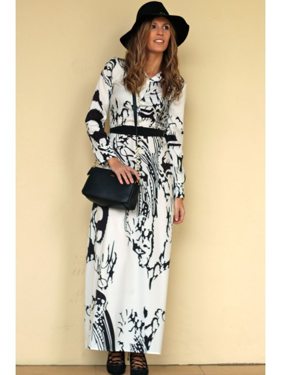 Chinese Painting Chiffon Maxi Dress - OFF-WHITE S Mobile