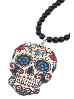 Skull Pendant Black Beaded Necklace - Black