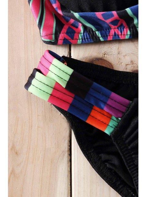 affordable Strapless Ethnic Pattern Padded Bikini Set - BLACK S Mobile