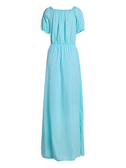 affordable Solid Color Elastic Waist Maxi Dress - LAKE BLUE S Mobile