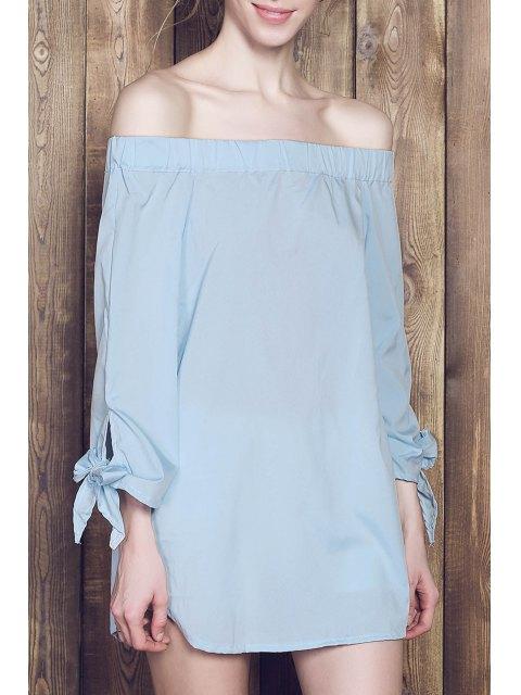 best Bow Tie Sleeve Bardot Dress - BLUE M Mobile