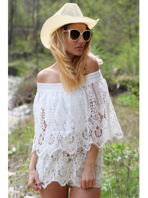 ladies Lace Off The Shoulder Half Sleeve Cover-Up - WHITE ONE SIZE(FIT SIZE XS TO M) Mobile