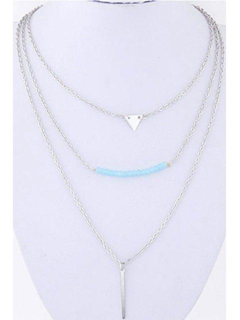 unique Three Layered Pendant Necklace - SILVER  Mobile