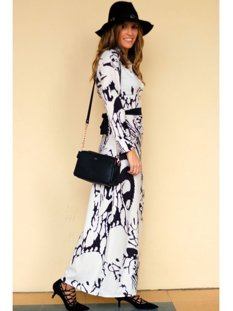 ladies Chinese Painting Chiffon Maxi Dress - OFF-WHITE S Mobile