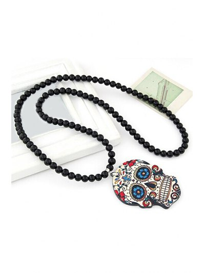 Skull Pendant Black Beaded Necklace от Zaful.com INT