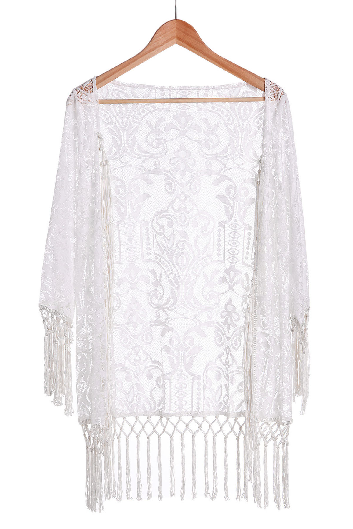 Tassels Spliced Lace White Sunscreen Blouse