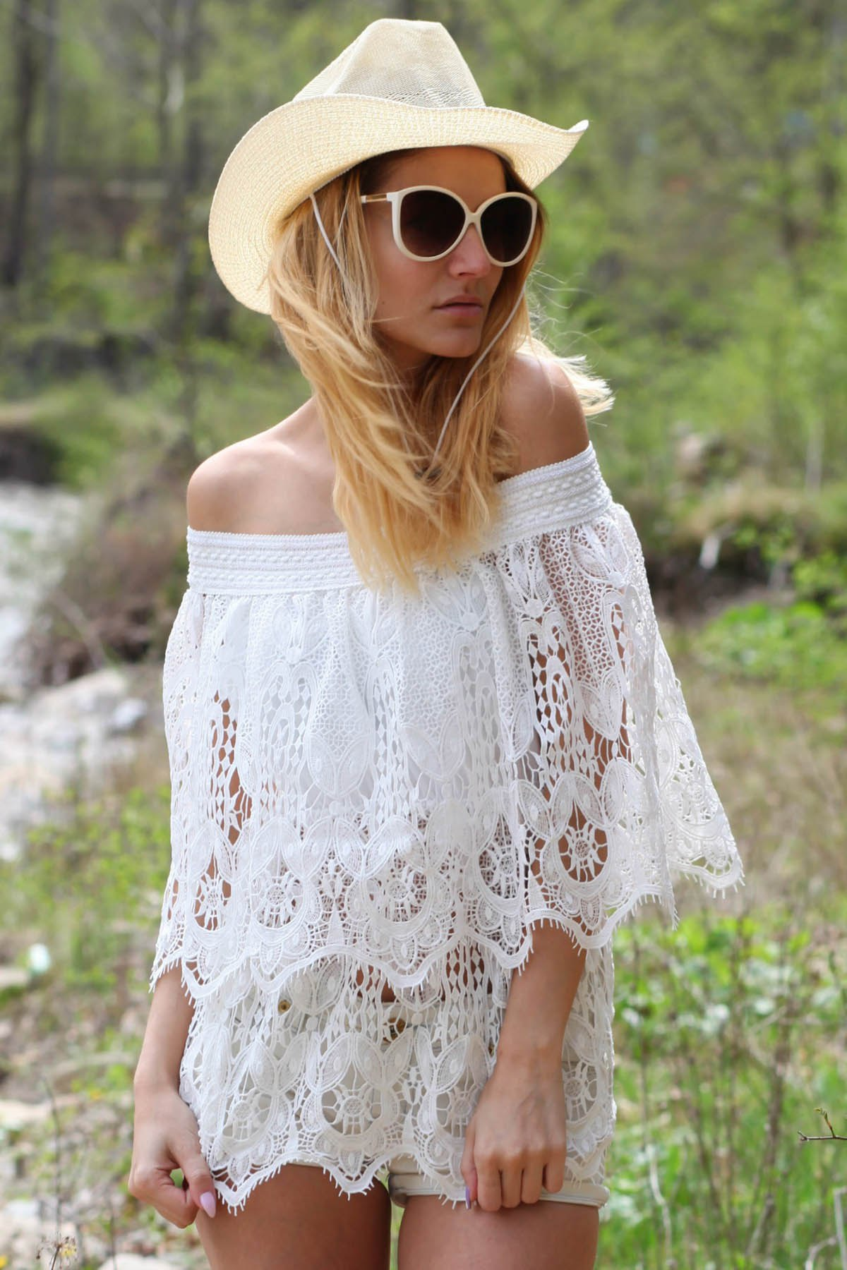 Off The Shoulder Half Sleeve Lace Cover-Up