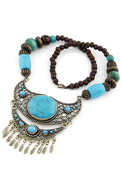 Turquoise Ethnic Pendant Beaded Necklace