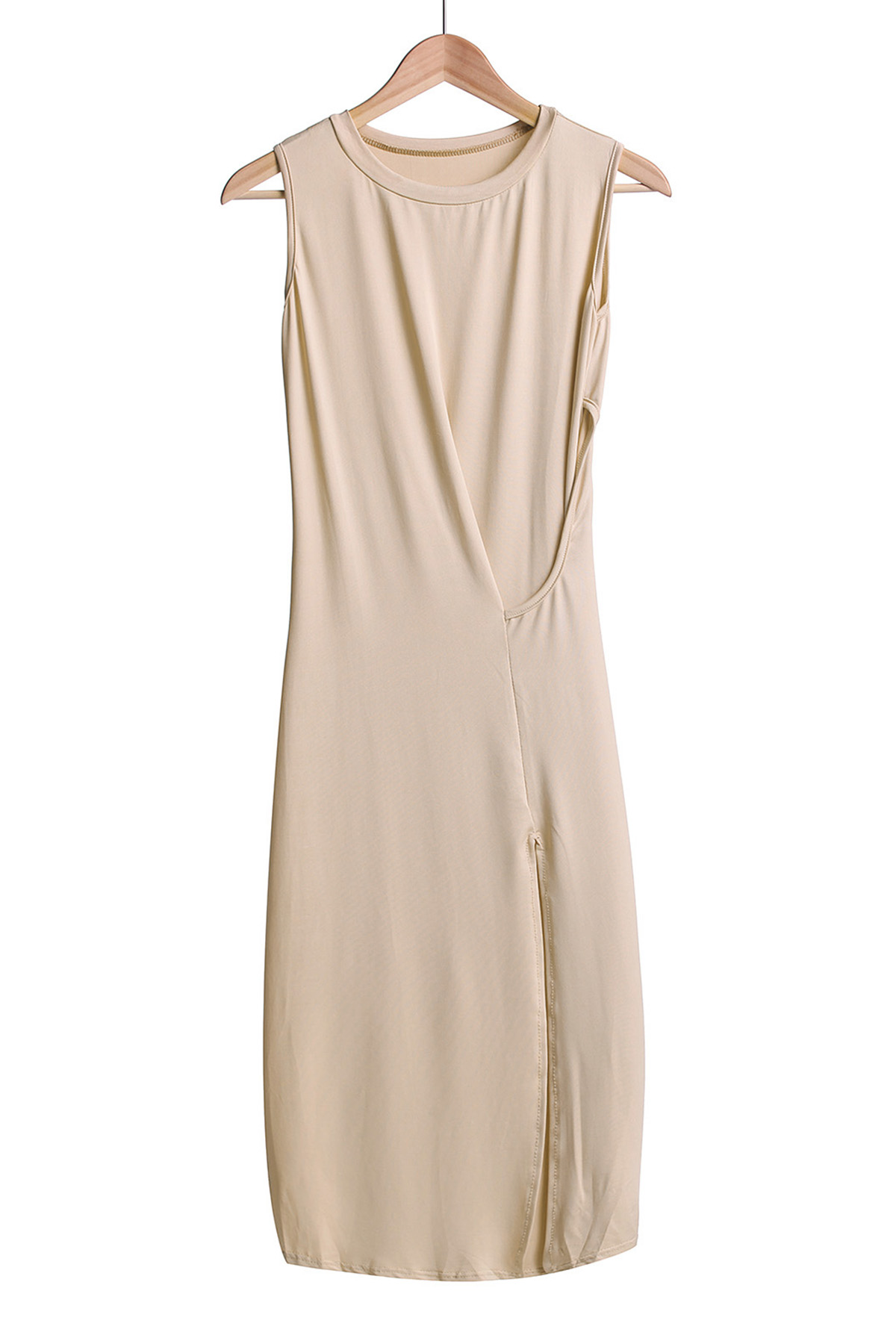 Solid Color High Slit Cut Out Maxi Dress - OFF WHITE S