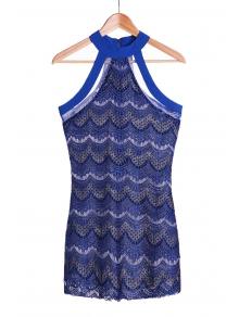 See-Through Sapphire Blue Lace Dress