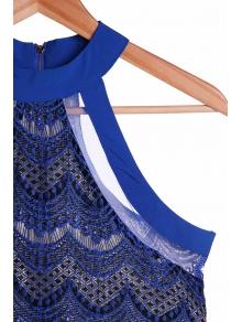 See-Through Sapphire Blue Lace Dress - SAPPHIRE BLUE M