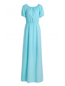 Solid Color Elastic Waist Maxi Dress - Lake Blue S